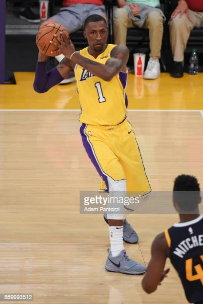 Kentavious CaldwellPope of the Los Angeles Lakers passes the ball during the preseason game against the Utah Jazz on October 10 2017 at STAPLES...