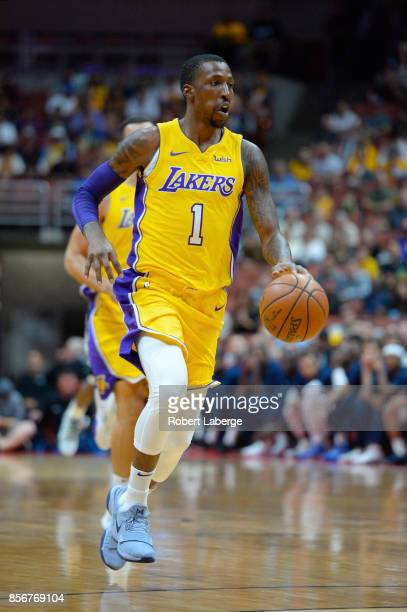 Kentavious CaldwellPope of the Los Angeles Lakers plays against the Minnesota Timberwolves on September 30 2017 at the Honda Center in Anaheim...