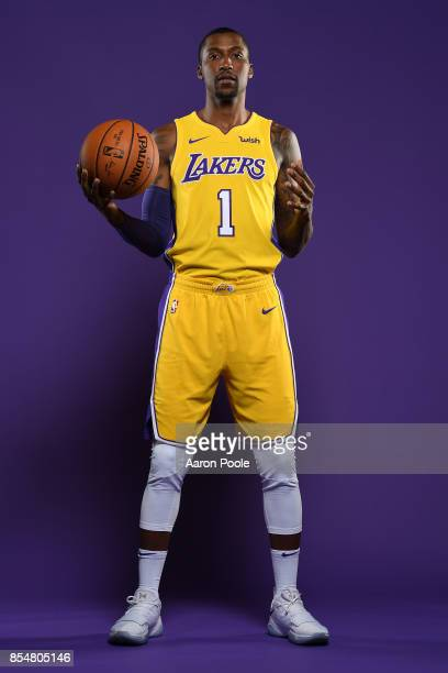 Kentavious CaldwellPope of the Los Angeles Lakers poses for a portrait during media day at UCLA Health Training Center on September 25 2017 in El...