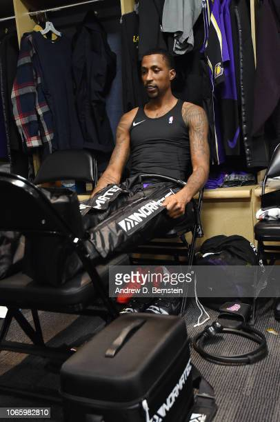 Kentavious CaldwellPope of the Los Angeles Lakers prepares prior to the game against the Denver Nuggets on November 27 2018 at the Pepsi Center in...