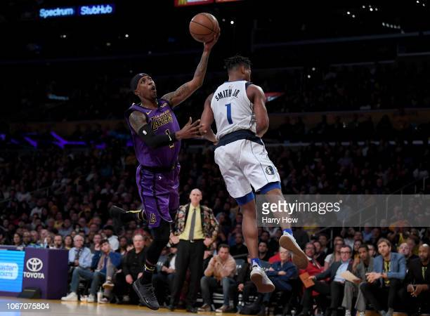 Kentavious CaldwellPope of the Los Angeles Lakers reacts as he is fouled by Dennis Smith Jr #1 of the Dallas Mavericks during a 114103 Laker win at...