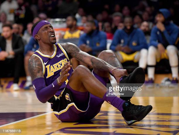 Kentavious CaldwellPope of the Los Angeles Lakers reacts to an injury during a 12094 Lakers win over the Golden State Warriors at Staples Center on...