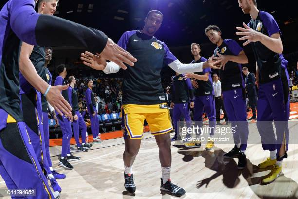 Kentavious CaldwellPope of the Los Angeles Lakers runs out before a preseason game against the Denver Nuggets on September 30 2018 at Valley View...