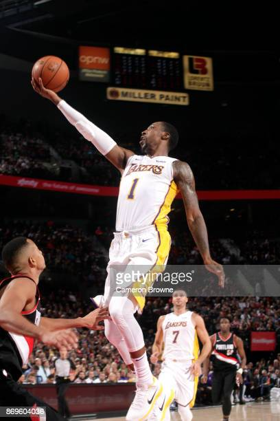 Kentavious CaldwellPope of the Los Angeles Lakers shoots a lay up against the Los Angeles Lakers on November 2 2017 at the Moda Center in Portland...