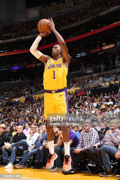Kentavious CaldwellPope of the Los Angeles Lakers shoots the ball against the Denver Nuggets during a preseason game on October 2 2018 at STAPLES...