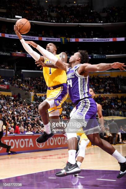 Kentavious CaldwellPope of the Los Angeles Lakers shoots the ball against the Sacramento Kings during a preseason game on October 4 2018 at STAPLES...