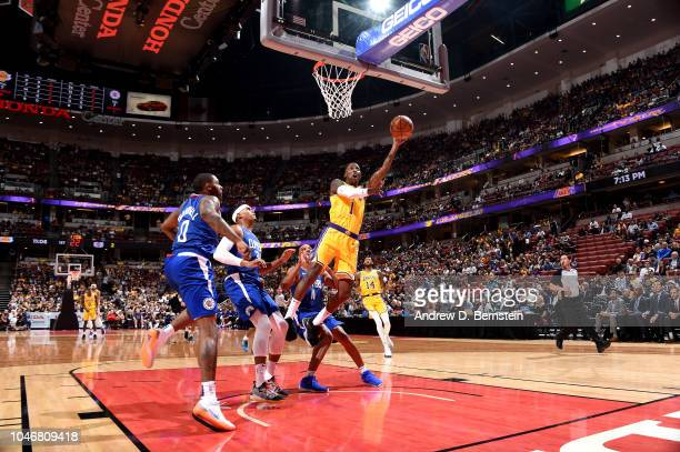 Kentavious CaldwellPope of the Los Angeles Lakers shoots the ball against the LA Clippers during a preseason game on October 6 2018 at Honda Center...