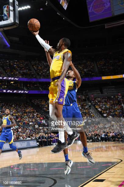 Kentavious CaldwellPope of the Los Angeles Lakers shoots the ball against the Golden State Warriors during a preseason game on October 10 2018 at...