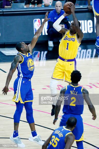 Kentavious CaldwellPope of the Los Angeles Lakers shoots the ball during the game against the Golden State Warriors on October 10 2018 at TMobile...