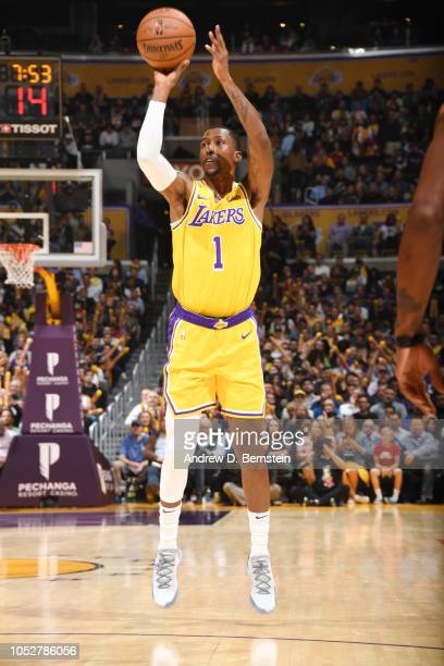 Kentavious CaldwellPope of the Los Angeles Lakers shoots the ball against the San Antonio Spurs on October 22 2018 at STAPLES Center in Los Angeles...
