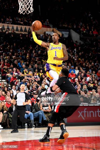 Kentavious CaldwellPope of the Los Angeles Lakers shoots the ball against the Portland Trail Blazers on November 3 2018 at Moda Center in Portland...