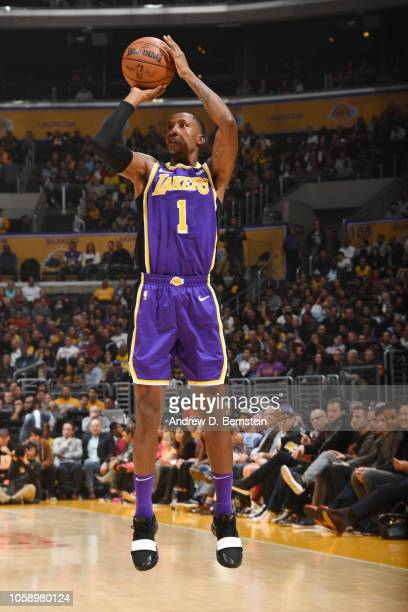 Kentavious CaldwellPope of the Los Angeles Lakers shoots the ball against the Minnesota Timberwolves on November 7 2018 at STAPLES Center in Los...