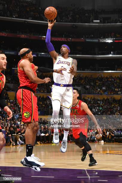 Kentavious CaldwellPope of the Los Angeles Lakers shoots the ball against the Atlanta Hawks on November 11 2018 at STAPLES Center in Los Angeles...