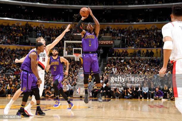 Kentavious CaldwellPope of the Los Angeles Lakers shoots the ball against the Portland Trail Blazers on November 14 2018 at STAPLES Center in Los...