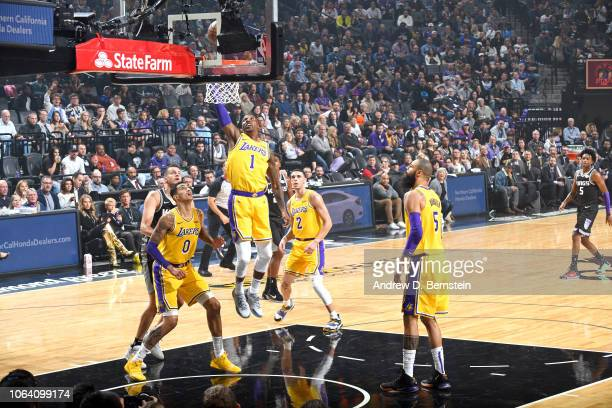 Kentavious CaldwellPope of the Los Angeles Lakers shoots the ball against the Sacramento Kings on November 10 2018 at Golden 1 Center in Sacramento...