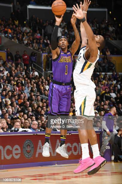 Kentavious CaldwellPope of the Los Angeles Lakers shoots the ball during the game against the Utah Jazz on November 23 2018 at STAPLES Center in Los...