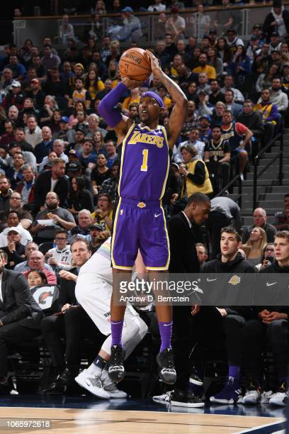 Kentavious CaldwellPope of the Los Angeles Lakers shoots the ball against the Denver Nuggets on November 27 2018 at the Pepsi Center in Denver...