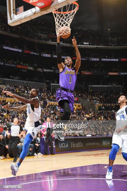Kentavious CaldwellPope of the Los Angeles Lakers shoots the ball against the Dallas Mavericks on November 30 2018 at STAPLES Center in Los Angeles...