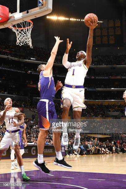 Kentavious CaldwellPope of the Los Angeles Lakers shoots the ball against the Phoenix Suns on December 2 2018 at STAPLES Center in Los Angeles...