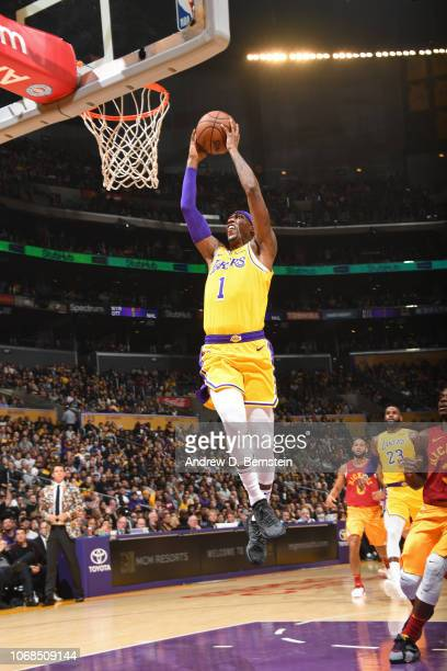 Kentavious CaldwellPope of the Los Angeles Lakers shoots the ball against the Indiana Pacers on November 29 2018 at STAPLES Center in Los Angeles...
