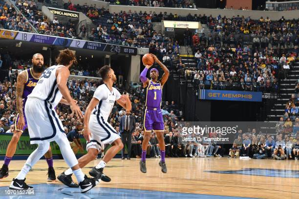 Kentavious CaldwellPope of the Los Angeles Lakers shoots the ball against the Memphis Grizzlies on December 8 2018 at FedExForum in Memphis Tennessee...