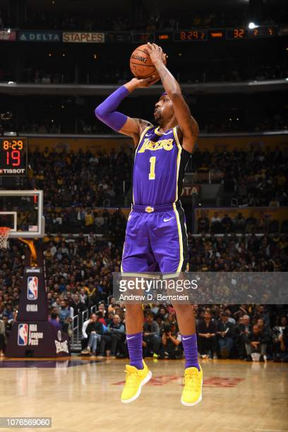 Kentavious CaldwellPope of the Los Angeles Lakers shoots the ball against the Oklahoma City Thunder on January 2 2019 at STAPLES Center in Los...