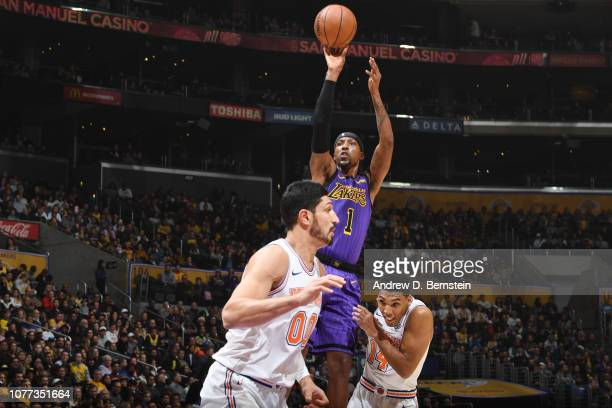 Kentavious CaldwellPope of the Los Angeles Lakers shoots the ball against the New York Knicks on January 4 2019 at STAPLES Center in Los Angeles...