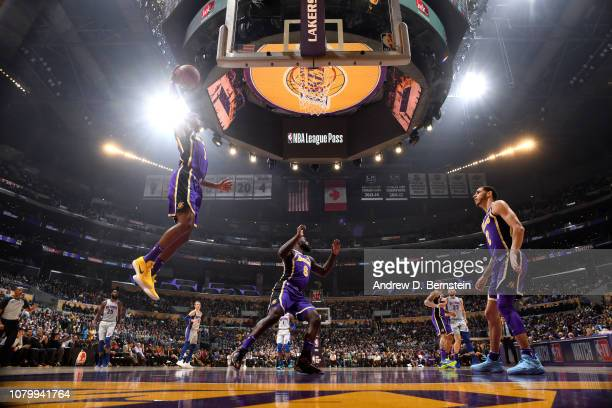 Kentavious CaldwellPope of the Los Angeles Lakers shoots the ball against the Detroit Pistons on January 9 2019 at STAPLES Center in Los Angeles...