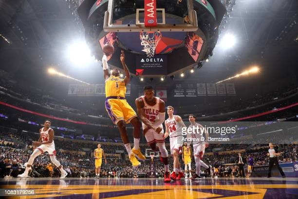 Kentavious CaldwellPope of the Los Angeles Lakers shoots the ball against the Chicago Bulls on January 15 2019 at STAPLES Center in Los Angeles...