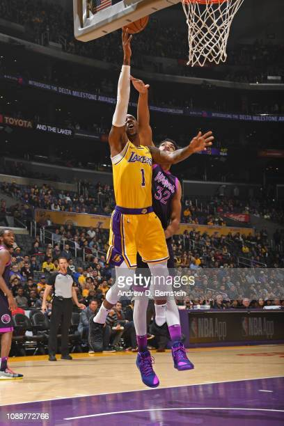Kentavious CaldwellPope of the Los Angeles Lakers shoots the ball against the Minnesota Timberwolves on January 24 2019 at STAPLES Center in Los...