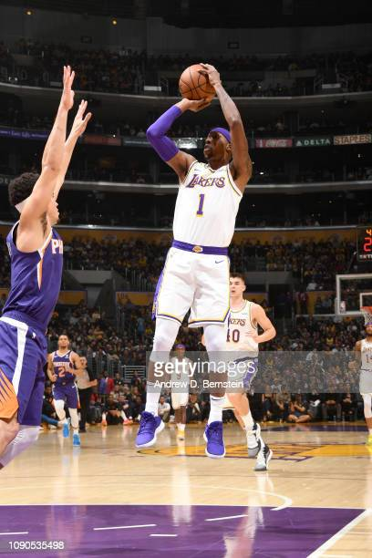 Kentavious CaldwellPope of the Los Angeles Lakers shoots the ball against the Phoenix Suns on January 27 2019 at STAPLES Center in Los Angeles...