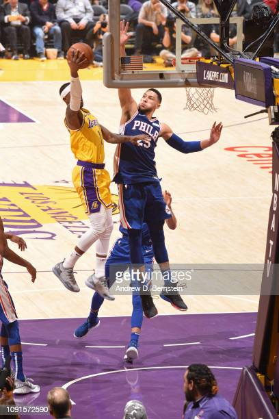 Kentavious CaldwellPope of the Los Angeles Lakers shoots the ball against the Philadelphia 76ers on January 21 2019 at STAPLES Center in Los Angeles...