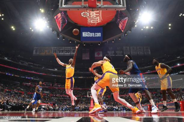 Kentavious CaldwellPope of the Los Angeles Lakers shoots the ball against the LA Clippers on January 31 2019 at STAPLES Center in Los Angeles...