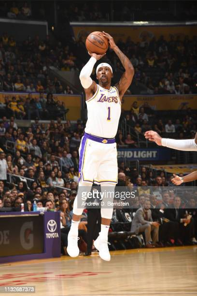 Kentavious CaldwellPope of the Los Angeles Lakers shoots the ball during the game against the Sacramento Kings on March 24 2019 at STAPLES Center in...