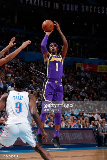 Kentavious CaldwellPope of the Los Angeles Lakers shoots the ball against the Oklahoma City Thunder on April 2 2019 at Chesapeake Energy Arena in...