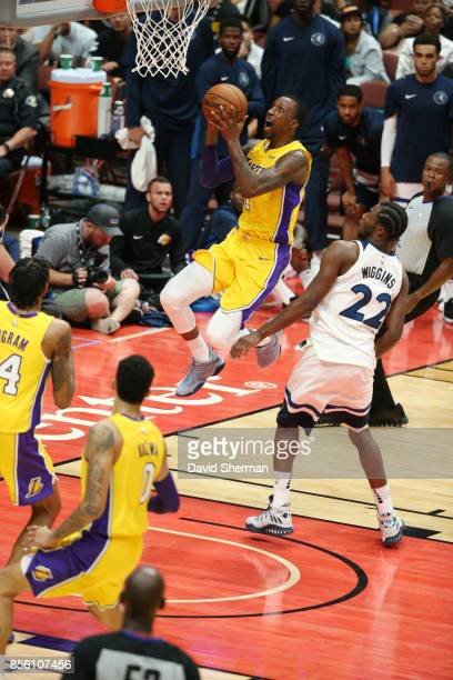 Kentavious CaldwellPope of the Los Angeles Lakers shoots the ball against the Minnesota Timberwolves during a preseason game on September 30 2017 at...