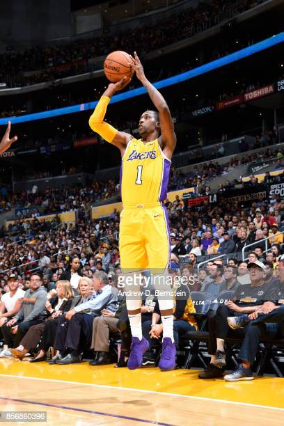 Kentavious CaldwellPope of the Los Angeles Lakers shoots the ball during the game against the Denver Nuggets during a preseason game on October 2...