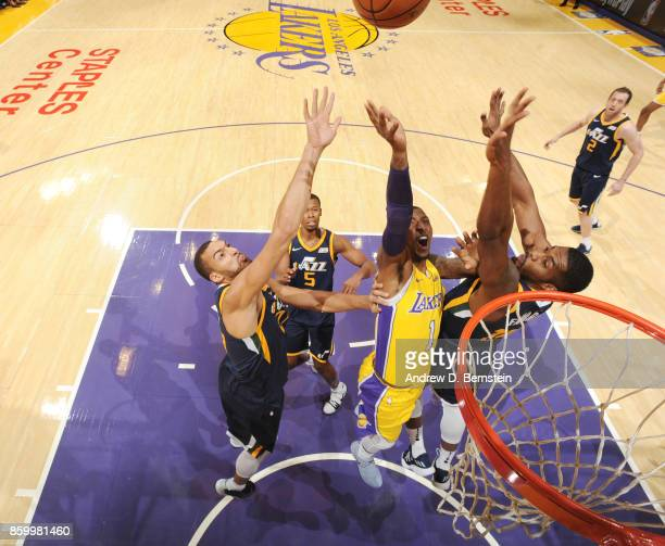Kentavious CaldwellPope of the Los Angeles Lakers shoots the ball against the Utah Jazz on October 10 2017 at STAPLES Center in Los Angeles...