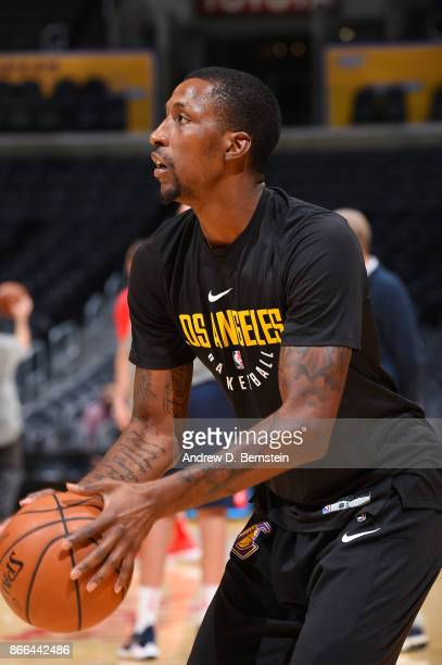 Kentavious CaldwellPope of the Los Angeles Lakers shoots the ball during warmups before the game against the Washington Wizards on October 25 2017 at...