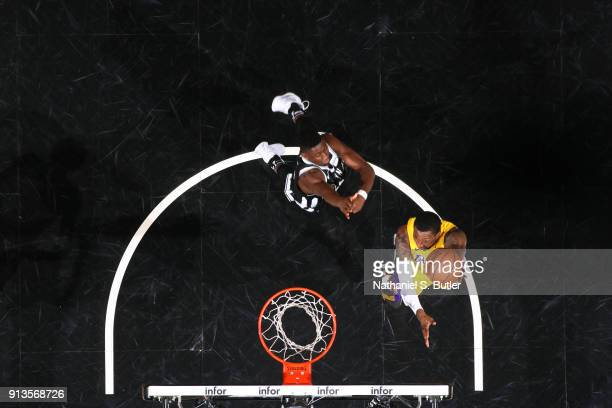 Kentavious CaldwellPope of the Los Angeles Lakers shoots the ball against the Brooklyn Nets on February 2 2018 at Barclays Center in Brooklyn New...