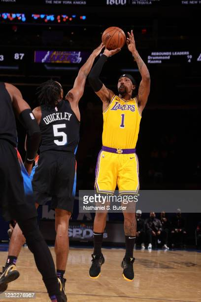 Kentavious Caldwell-Pope of the Los Angeles Lakers shoots three point basket during the game against the New York Knicks on April 12, 2021 at Madison...