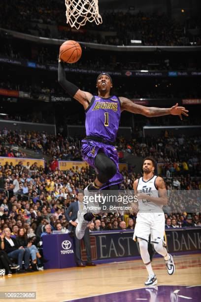 Kentavious CaldwellPope of the Los Angeles Lakers slam dunks the ball against the Utah Jazz on November 23 2018 at STAPLES Center in Los Angeles...