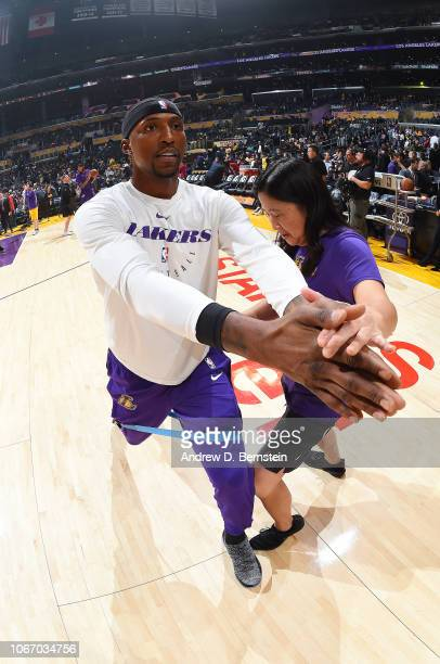 Kentavious CaldwellPope of the Los Angeles Lakers stretches prior to the game against the Dallas Mavericks on November 30 2018 at STAPLES Center in...