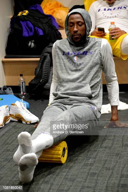 Kentavious CaldwellPope of the Los Angeles Lakers warms up before the game against the Denver Nuggets during a preseason game on September 30 2018 at...