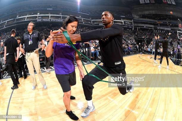 Kentavious CaldwellPope of the Los Angeles Lakers warms up before the game against the Sacramento Kings on November 10 2018 at Golden 1 Center in...