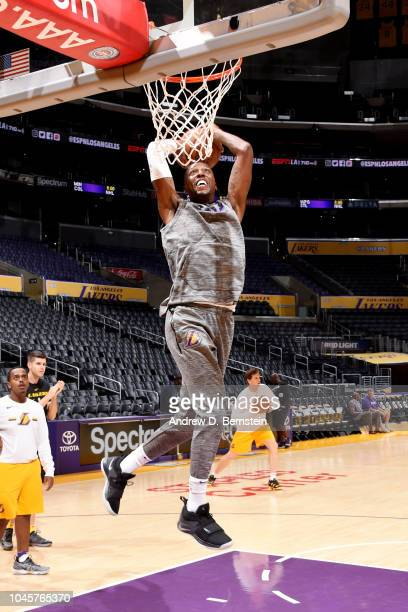 Kentavious CaldwellPope of the Los Angeles Lakers warms up prior to the preseason game against the Sacramento Kings on October 4 2018 at STAPLES...