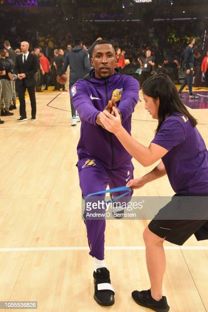 Kentavious CaldwellPope of the Los Angeles Lakers warms up prior to the game against the Denver Nuggets on October 25 2018 at STAPLES Center in Los...