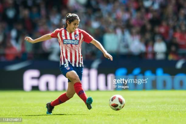 Kenti Robles of Atletico de Madrid controls the ball during the Liga Iberdrola match between Atletico de Madrid and Barcelona at Wanda Metropolitano...