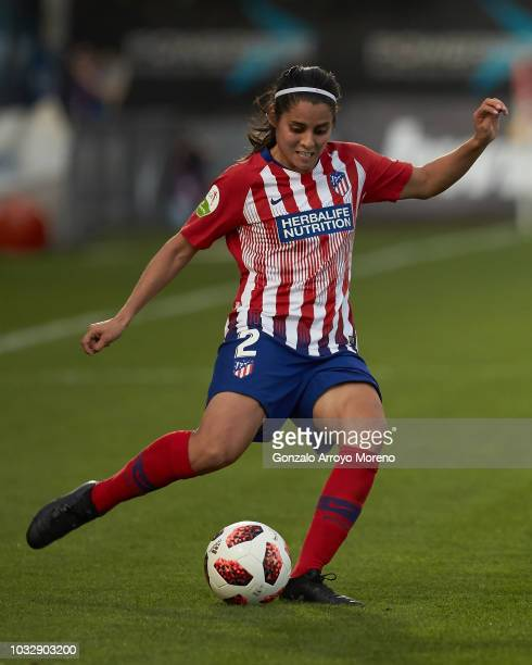 Kenti Robles of Atletico de Madrid controls the ball during the UEFA Women Champions League Round of 32 first leg between Atletico de Madrid and...