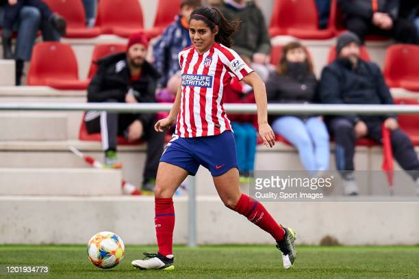 Kenti Robles of Atletico de Madrid runs with the ball during the Spanish women's league Liga Iberdrola between Atletico De Madrid v FC Barcelona at...